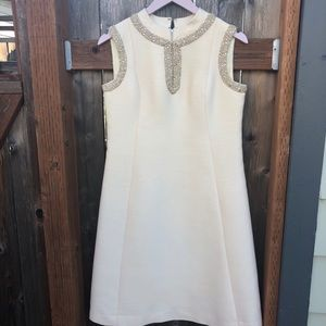 Vintage Ivory A-Line Dress with Bead Embroidery